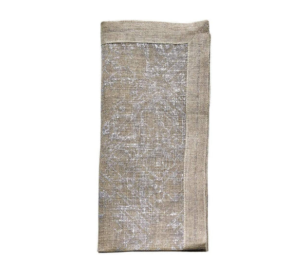 Kim Seybert Kim Seybert Distressed Linen Napkin In Natural & Silver - Set Of 4 NA2160346NASLV