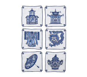Kim Seybert Indochine Cocktail Napkins - Set of 6 NA2170672WHBL