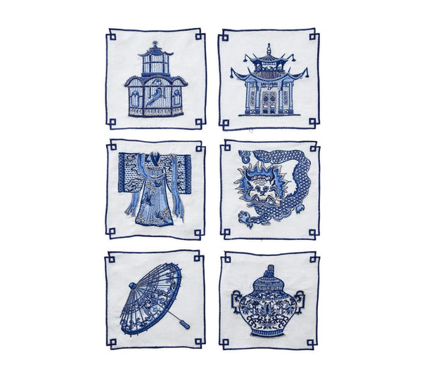 Kim Seybert Kim Seybert Indochine Cocktail Napkins - Set Of 6 NA2170672WHBL