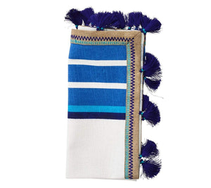 Kim Seybert Jaipur Napkin In White & Blue - Set of 4 NA1170527WHBL