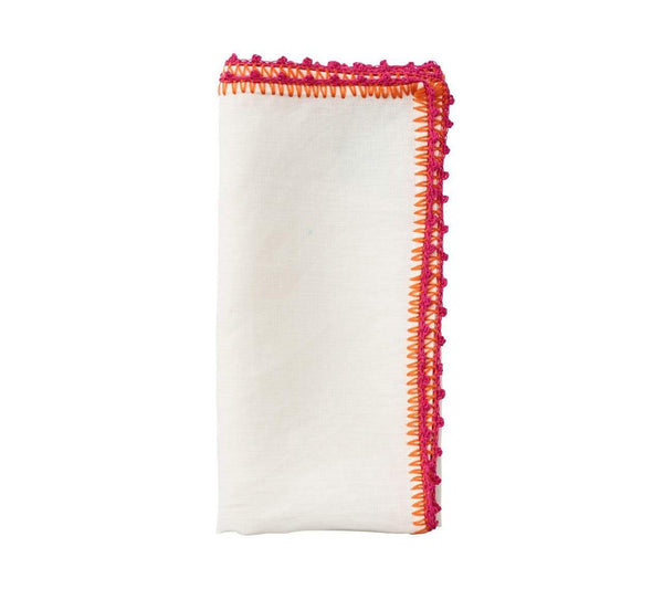 Kim Seybert Knotted Edge Napkin in White, Pink & Orange - Set of 4 NA1191937WHPKOR