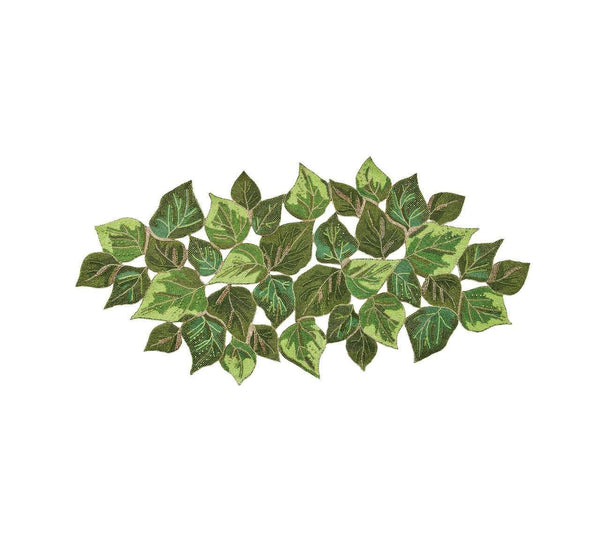 Kim Seybert Overlapped Leaves Beaded Table Runner in Green RU1117810GRN