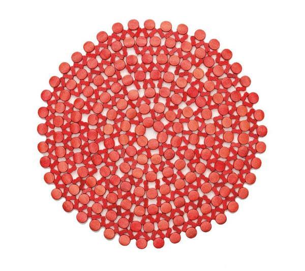 Kim Seybert Round Bamboo Placemat In Coral - Set of 4 PM2127550COR