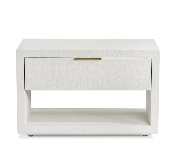 Interlude Home Montaigne Bedside Chest in Natural White - Antique Brass Finish