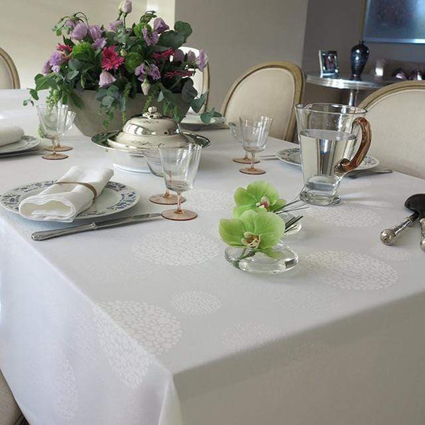 "Mode Living 52""x52"" / White Sydney Tablecloth"