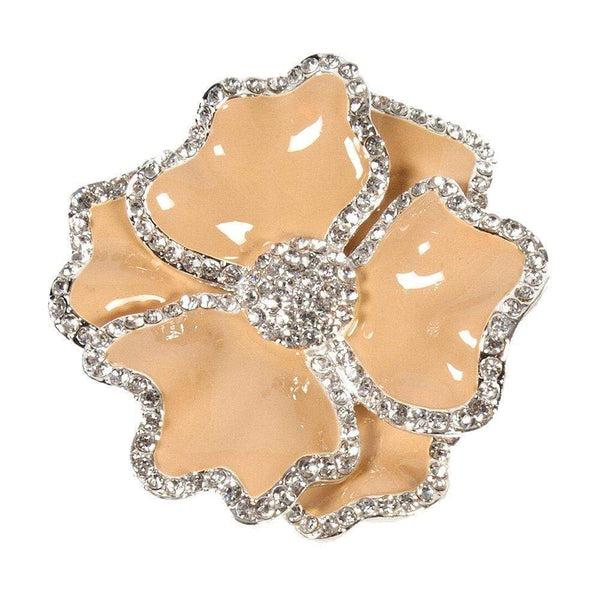 Nomi K Beige Flower Napkin Ring with Crystal Border  (Set of 4) NH018I