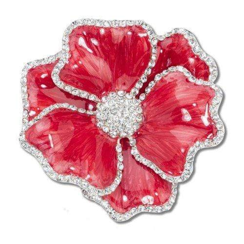 Nomi K Red Flower Napkin Ring with Crystal Border  (Set of 4) NH018D
