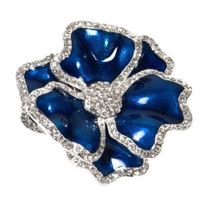 Nomi K Royal Blue Flower Napkin Ring with Crystal Border  (Set of 4) NH018J