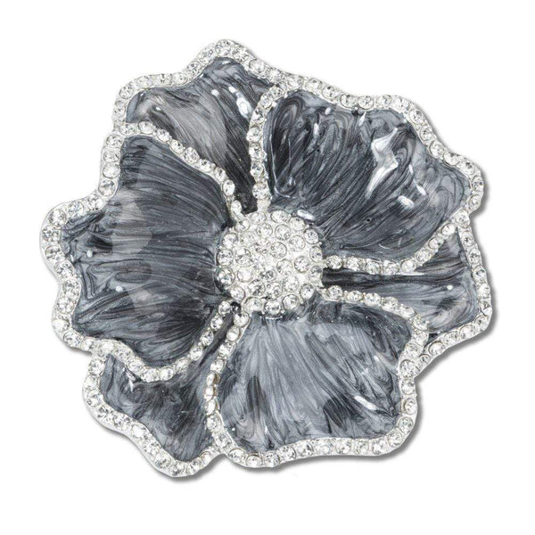 Nomi K Nomi K Shark Gray Flower Napkin Ring with Crystal Border (Set Of 4) NH018B