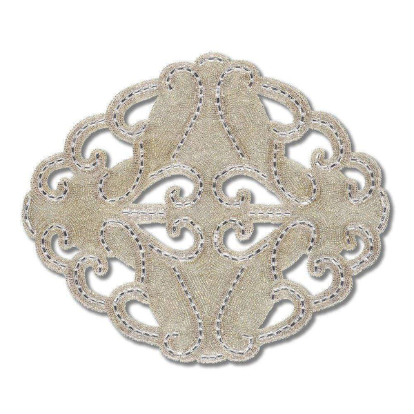 Nomi K Silver Hand Beaded Art Deco Circular Cut Out Lace Placemat SLVLCEDECO