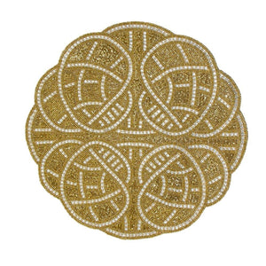 Nomi K Nomi K Royal Beaded Placemat - Gold & Silver ROYGLDPL