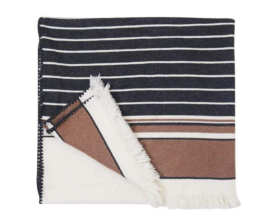 S. Harris S. Harris Boogie Stripe Cashmere Throw Blanket in Camelino 7632001