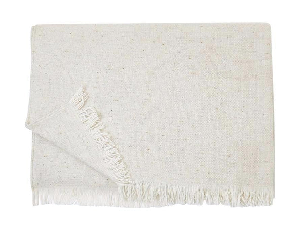 S. Harris Fleck Boucle Cashmere Throw Blanket in Ivory 7671601