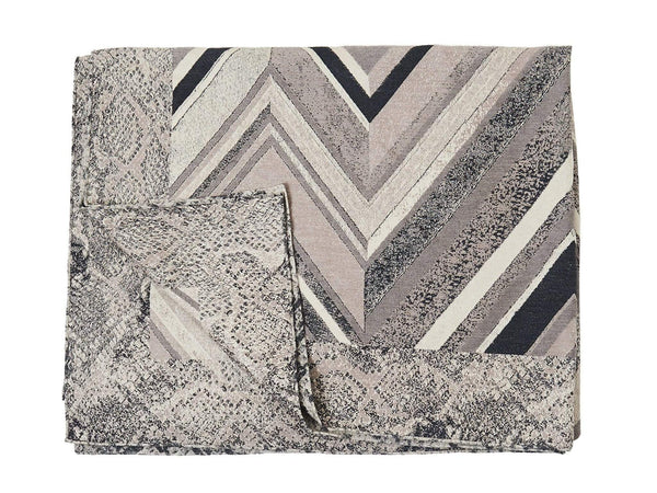 S. Harris Jerome Chevron Cashmere Throw Blanket in Grey Quartz 7671901