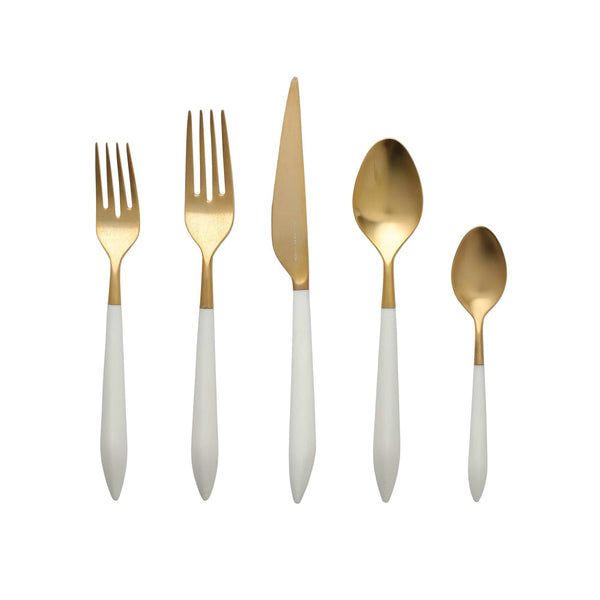 Vietri Vietri Ares Five Piece Place Setting - Gold & White ARS-9800GW