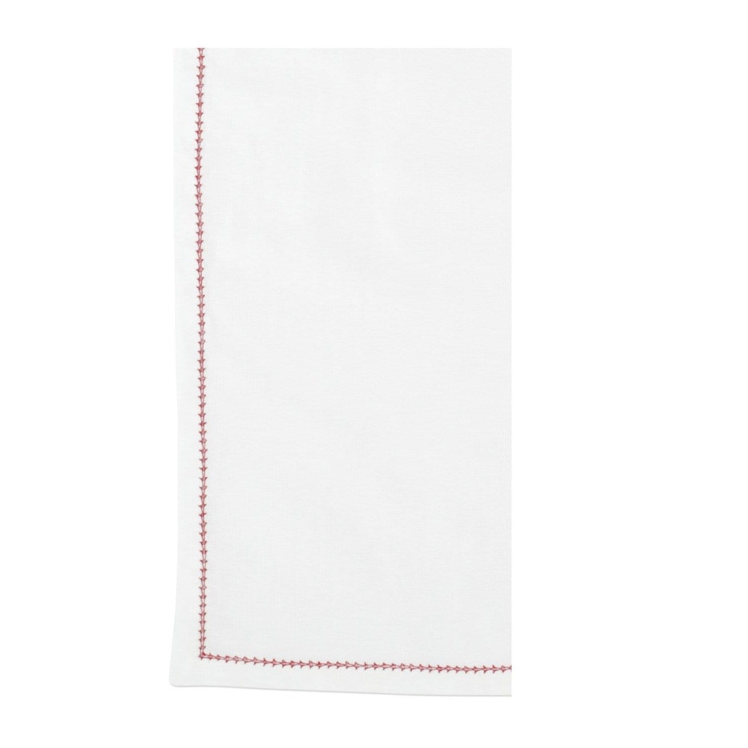 Vietri Cotone Linens Napkins with Stitching - Ivory & Red - Set of 4