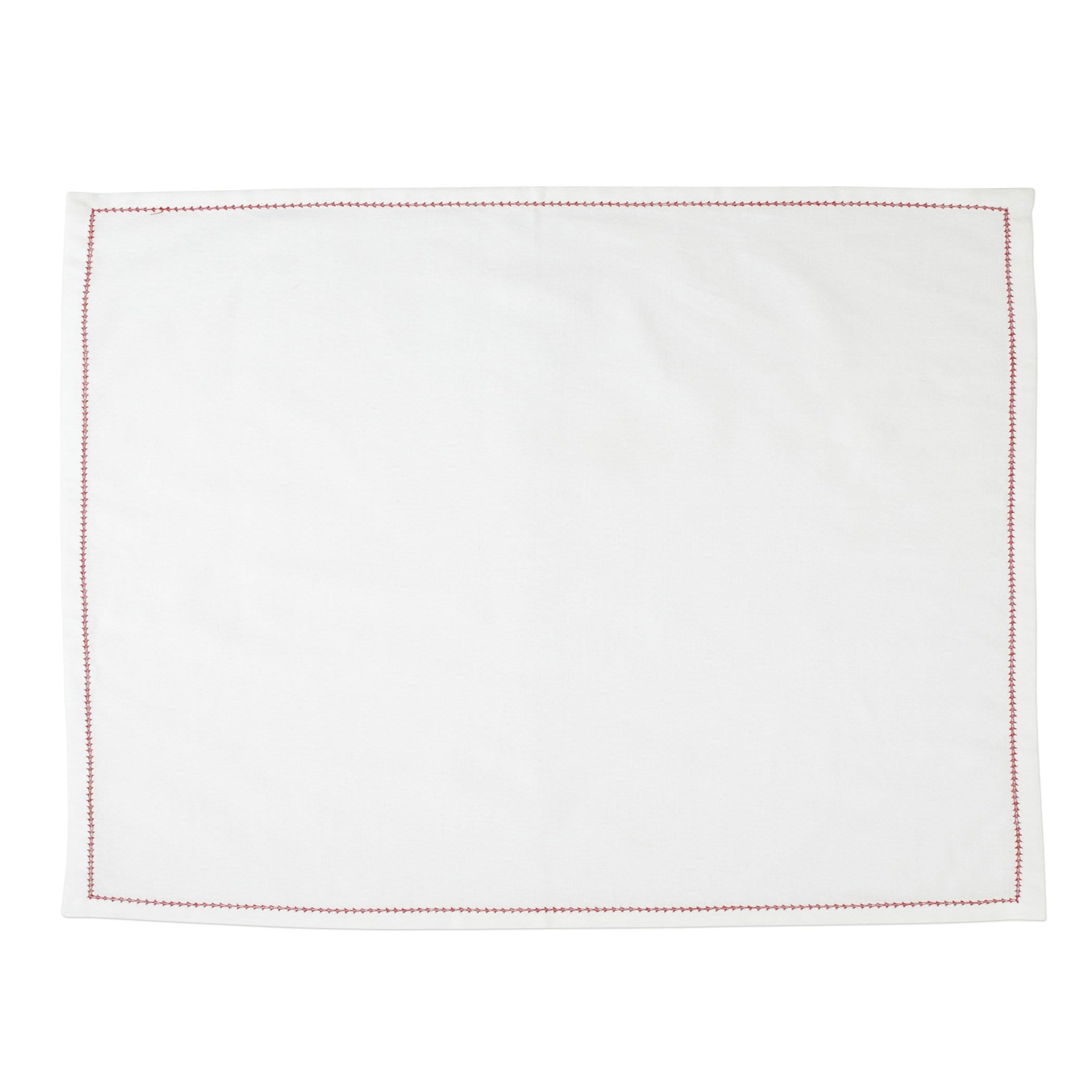Vietri Cotone Linens Placemats with Stitching - Ivory & Red - Set of 4