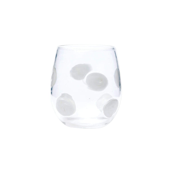 Vietri Drop Stemless Wine Glass - 3 Available Colors