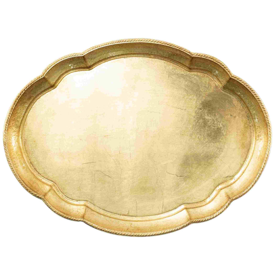 Vietri Florentine Wooden Gold Accessory Oval Tray