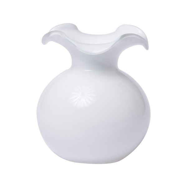 Vietri Hibiscus Glass White Fluted Vase - 3 Available Sizes