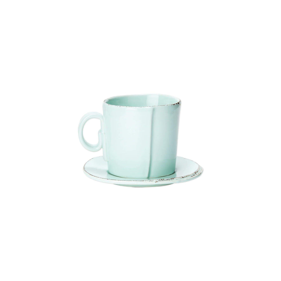 Vietri Vietri Lastra Espresso Cup & Saucer - Available in 6 Colors White LAS-2609W