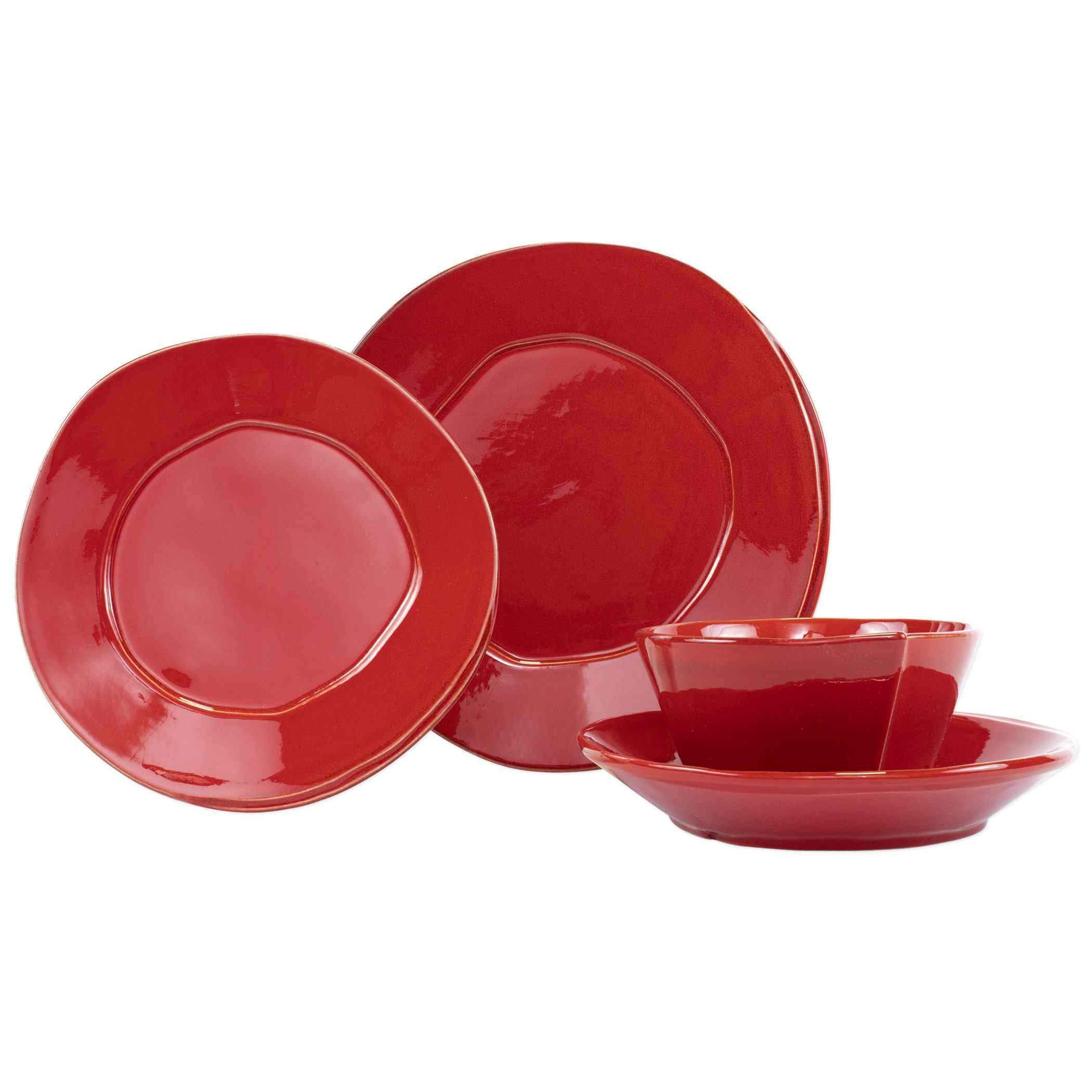 Vietri Lastra Four-Piece Place Setting - Available in 6 Colors - Red