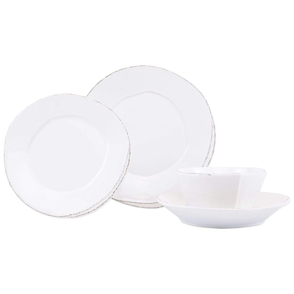 Vietri White Lastra Four-Piece Place Setting - Available in 6 Colors LAS-2600WS-4