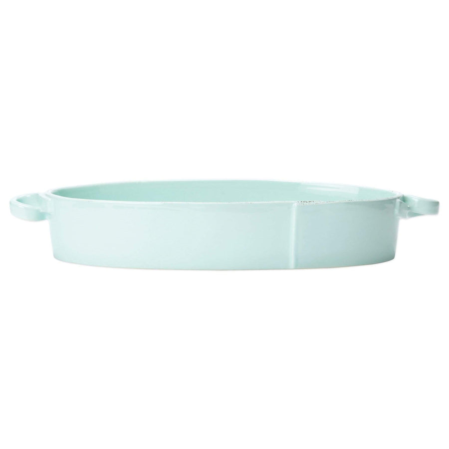 Vietri Vietri Lastra Handled Oval Baker - Available in 6 Colors White LAS-2655W