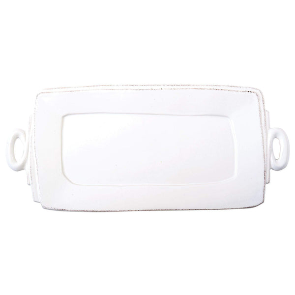 Vietri White Lastra Handled Rectangular Serving Platter - Available in 6 Colors LAS-2623W