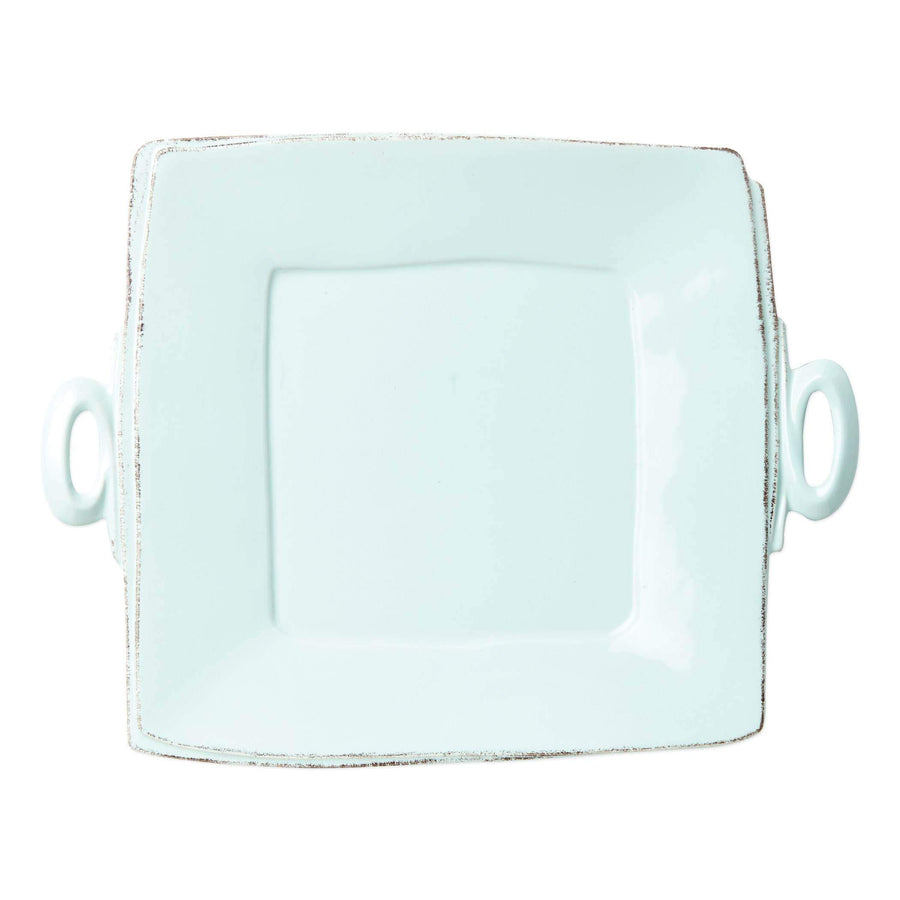 Vietri White Lastra Handled Square Serving Platter - Available in 6 Colors LAS-2628W