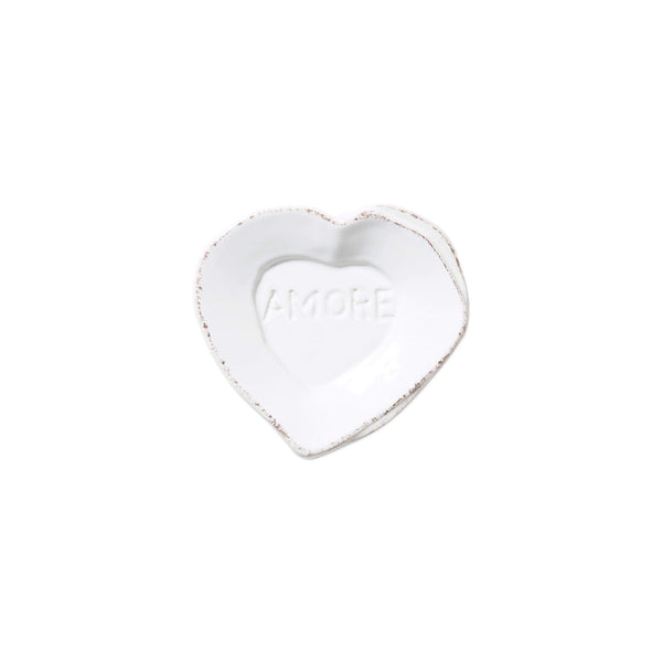 Vietri White Lastra Heart Mini Amore Plate - Set of 4 LAS-2669W