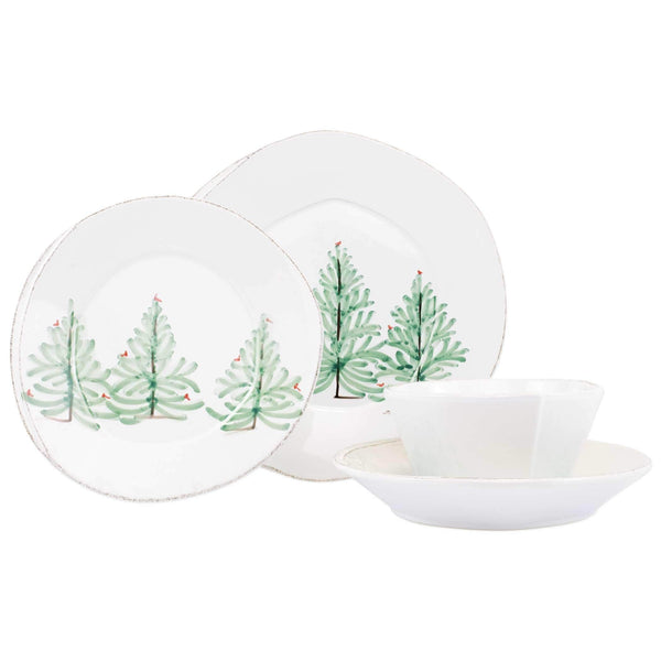 Vietri Vietri Lastra Holiday Four-Piece Place Setting LAH-2600S-4
