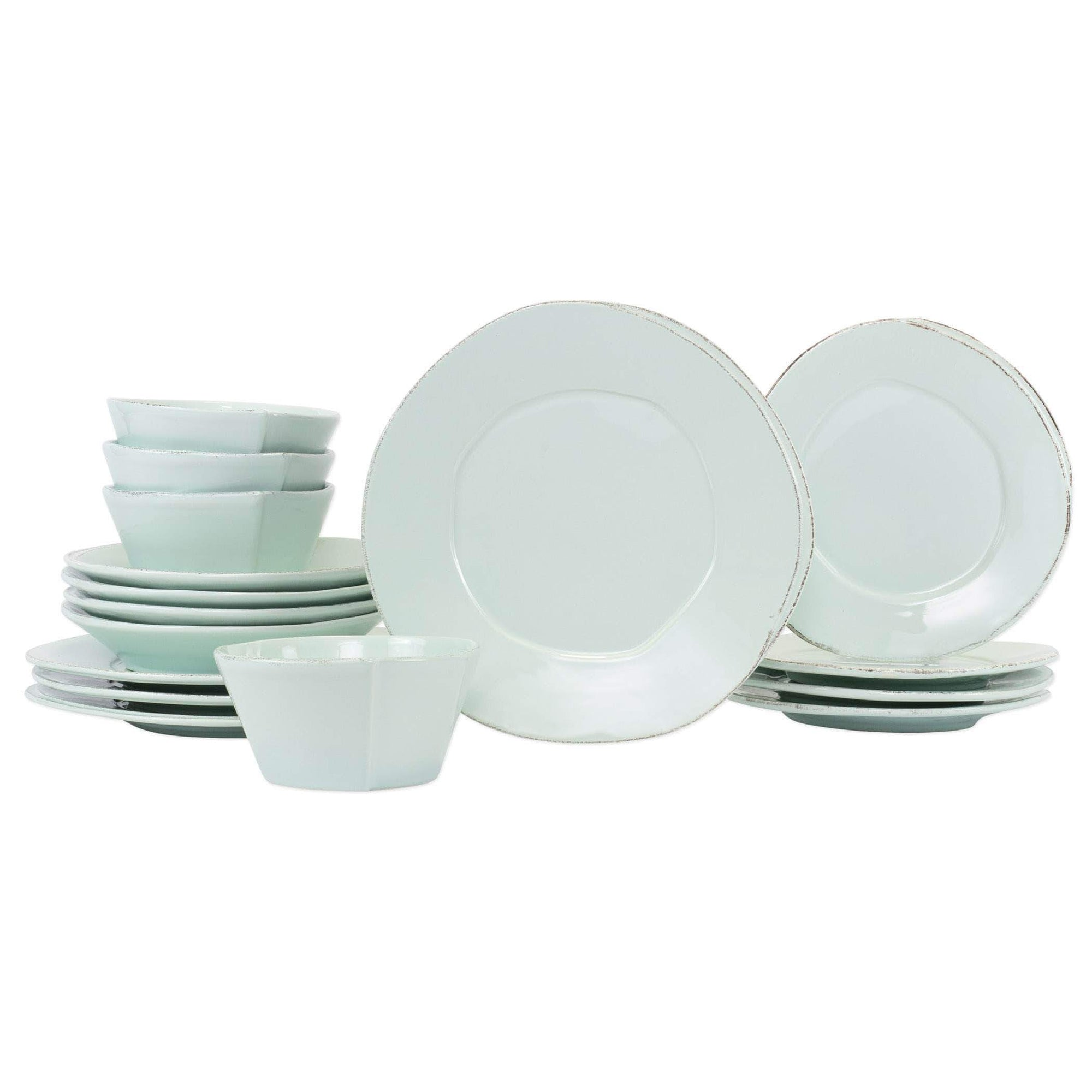 Vietri Vietri Lastra Sixteen-Piece Place Setting - Available in 6 Colors White LAS-2600WS-16N