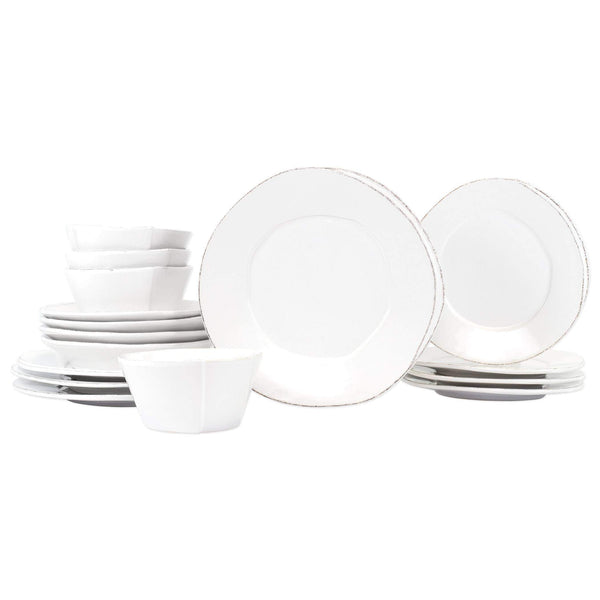 Vietri White Lastra Sixteen-Piece Place Setting - Available in 6 Colors LAS-2600WS-16N