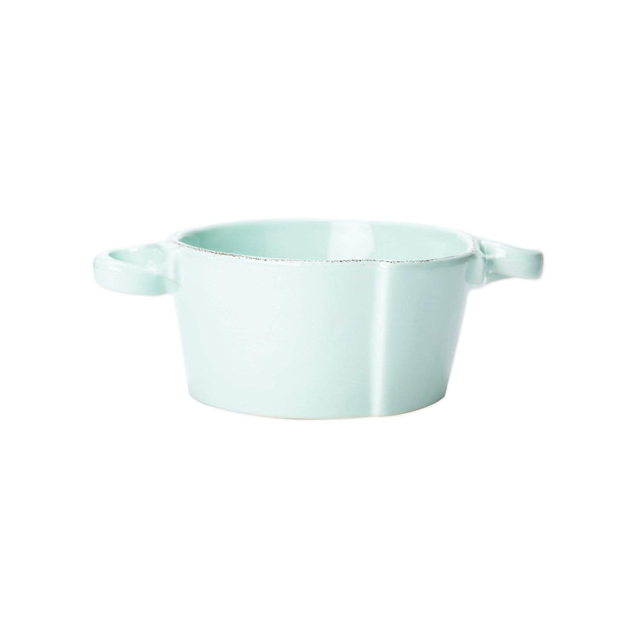 Vietri Vietri Lastra Small Handled Bowl - Available in 6 Colors White LAS-2651W