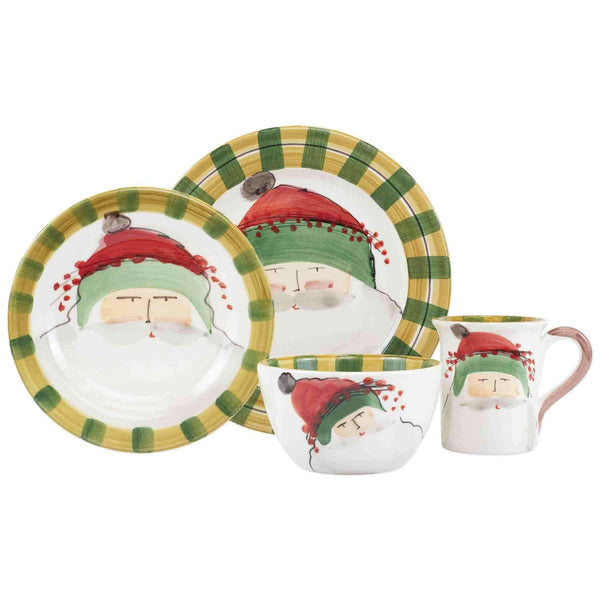 Vietri Vietri Old St. Nick Green Hat Four-Piece Place Setting OSN-7800BS-4