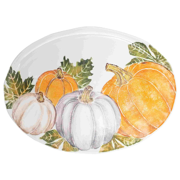 Vietri Vietri Pumpkins Large Oval Platter with Assorted Pumpkins PKN-9726