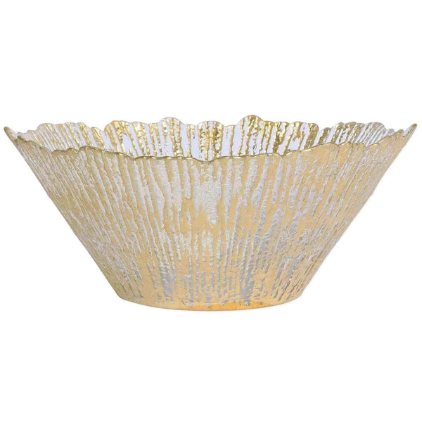 Vietri Rufolo Glass Gold Large Deep Bowl RUF-5238