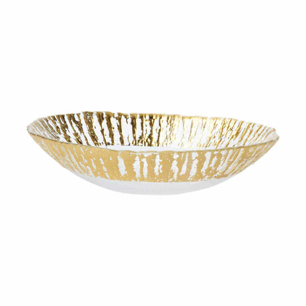 Vietri Set of 2 Rufolo Glass Gold Medium Oval Serving Bowl RUF-5231