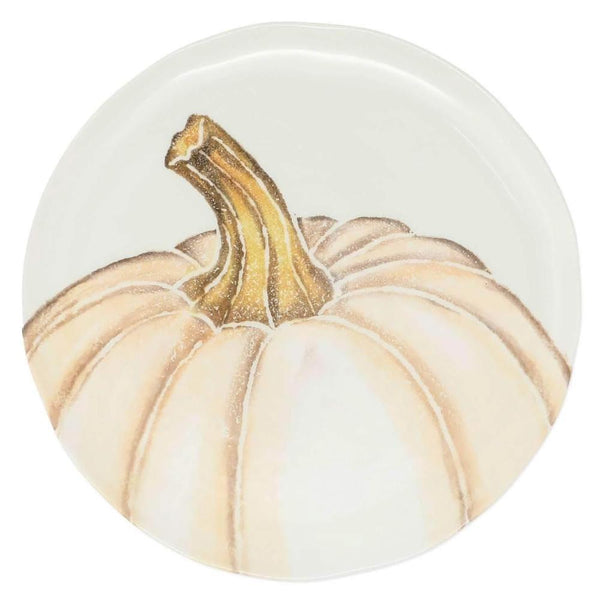 Vietri Set of 4 Pumpkins Salad Plate - White Medium Pumpkin PKN-9701C