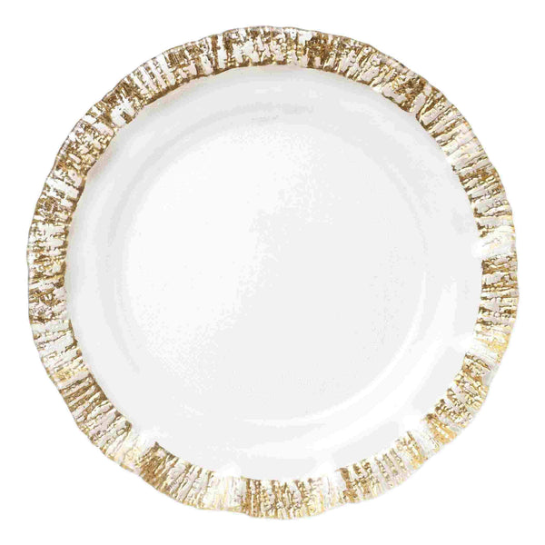 Vietri Set of 4 Rufolo Glass Gold Charger Plate RUF-5221