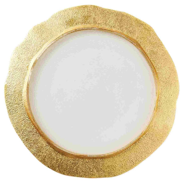 Vietri Set of 4 Rufolo Glass Gold Organic Salad Plate RUF-5203