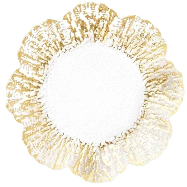 Vietri Set of 8 Rufolo Glass Gold Canape Plate RUF-5270