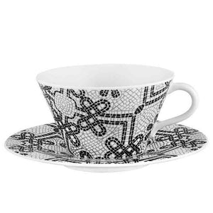 Vista Alegre Vista Alegre Calcada Portuguesa Set of 2 Tea Cups & Saucers in White & Black 21132222