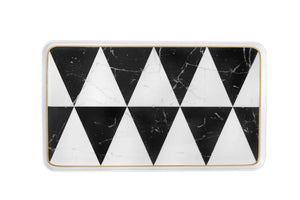 Vista Alegre Carrara Marble Chevron Medium Rectangular Platter 21124419