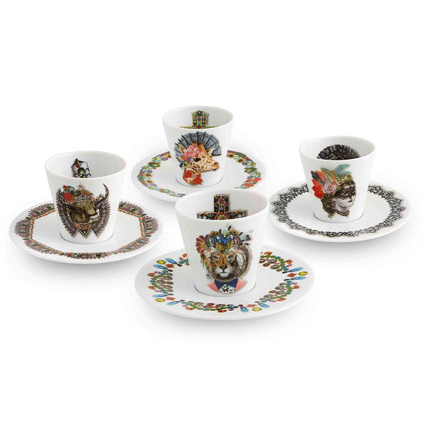 Vista Alegre Vista Alegre Love Who You Want Set Of 4 Expresso Cups and Saucers by Christian Lacroix 21129557