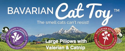 Bavarian Cat Toys available in Large pillows with valerian and catnip