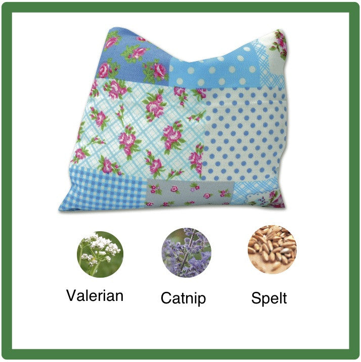 Blue patchwork-style cat sack with valerian & catnip