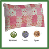Pink patchwork-style full cat-sized pillow with valerian