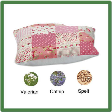 Pink patchwork-style cat cushion with valerian & catnip